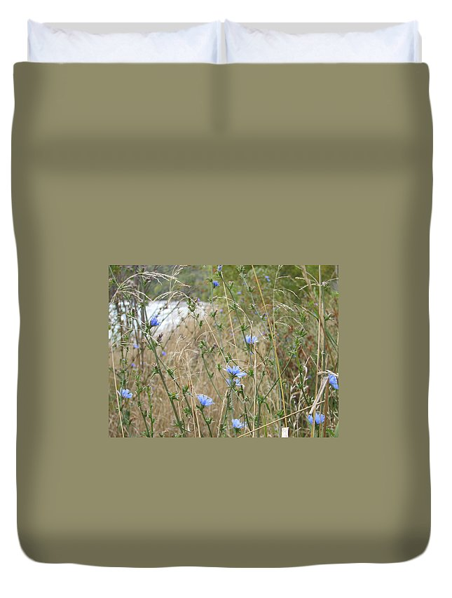 Flower Duvet Cover featuring the photograph Shore Flowers by Kelly Mezzapelle