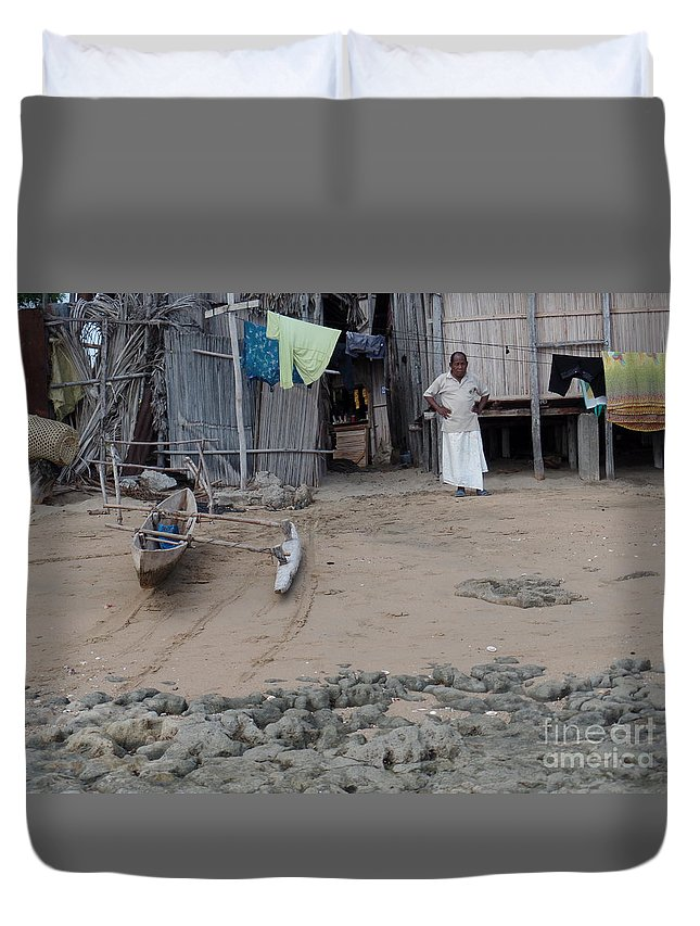Seaside Duvet Cover featuring the photograph Shore Landing Welcome by John Potts