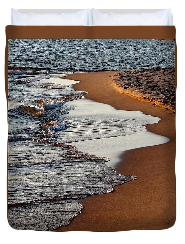Sunset Duvet Cover featuring the photograph Shore Of Lake Michigan by Sheli Kesteloot