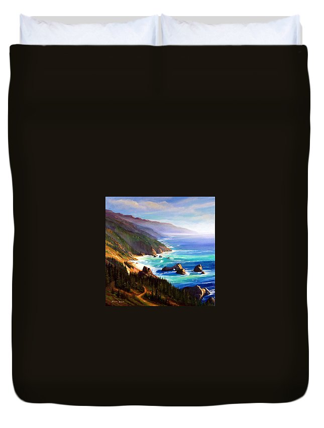 Seascape Duvet Cover featuring the painting Shore Trail by Frank Wilson