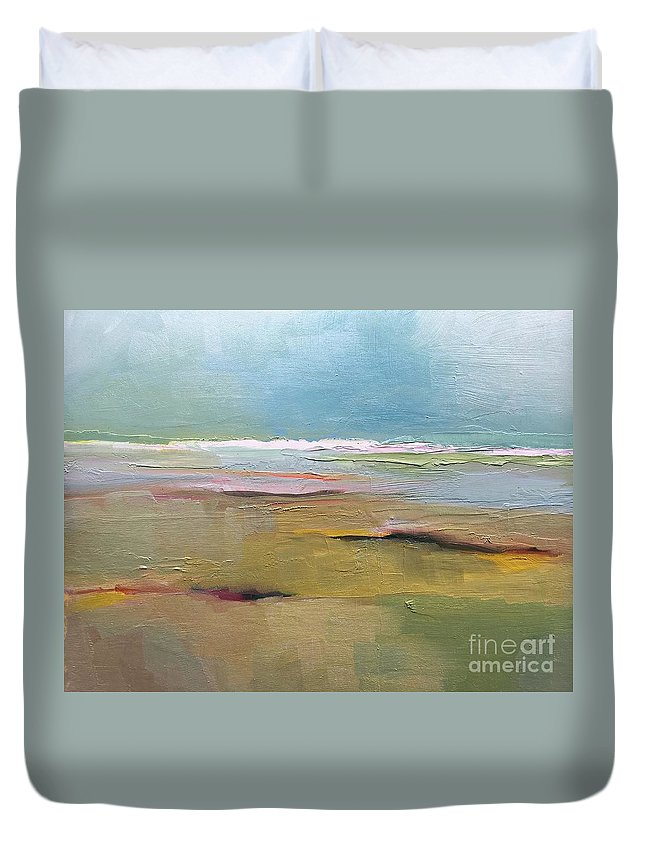 Landscape Duvet Cover featuring the painting Shoreline by Michelle Abrams