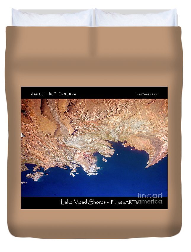 Abstract Duvet Cover featuring the photograph Shores Of Lake Mead Planet Art by James BO Insogna