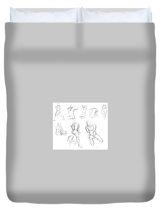 Duvet Cover featuring the drawing Short Poses by Unknown