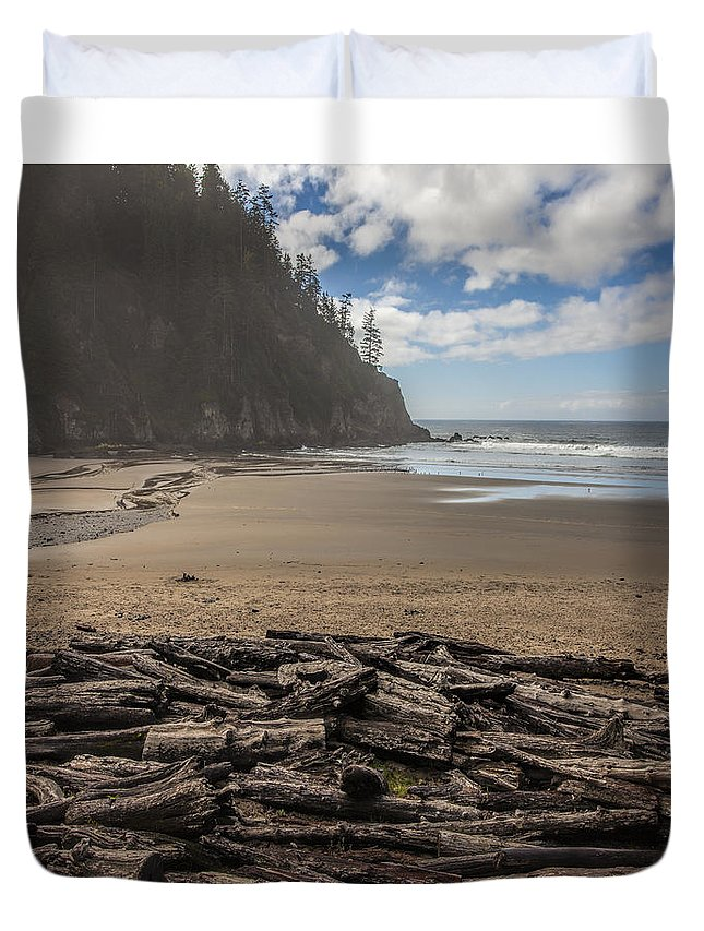 Oregon Duvet Cover featuring the photograph Short Sands Logs by Diana Powell