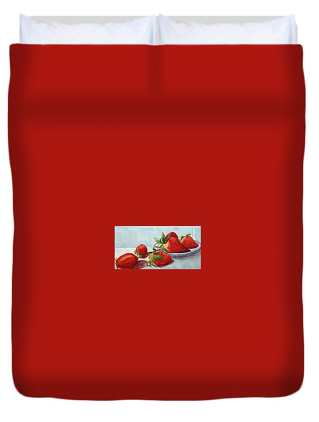 Strawberry Duvet Cover featuring the painting Shortcake by Nicole Curreri