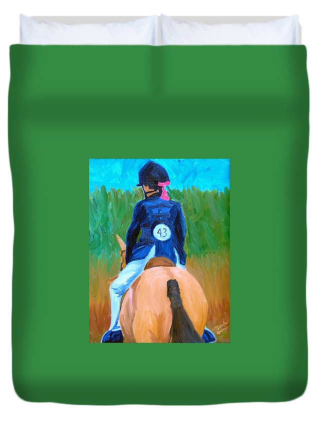 Horses Duvet Cover featuring the painting Show Day by Michael Lee