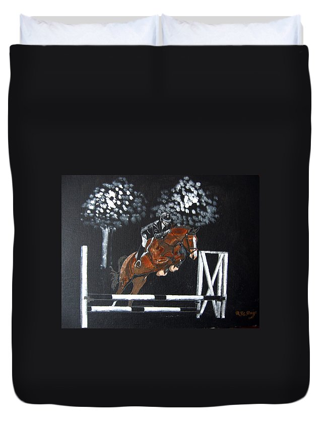 Horse Duvet Cover featuring the painting Show Jumper by Richard Le Page