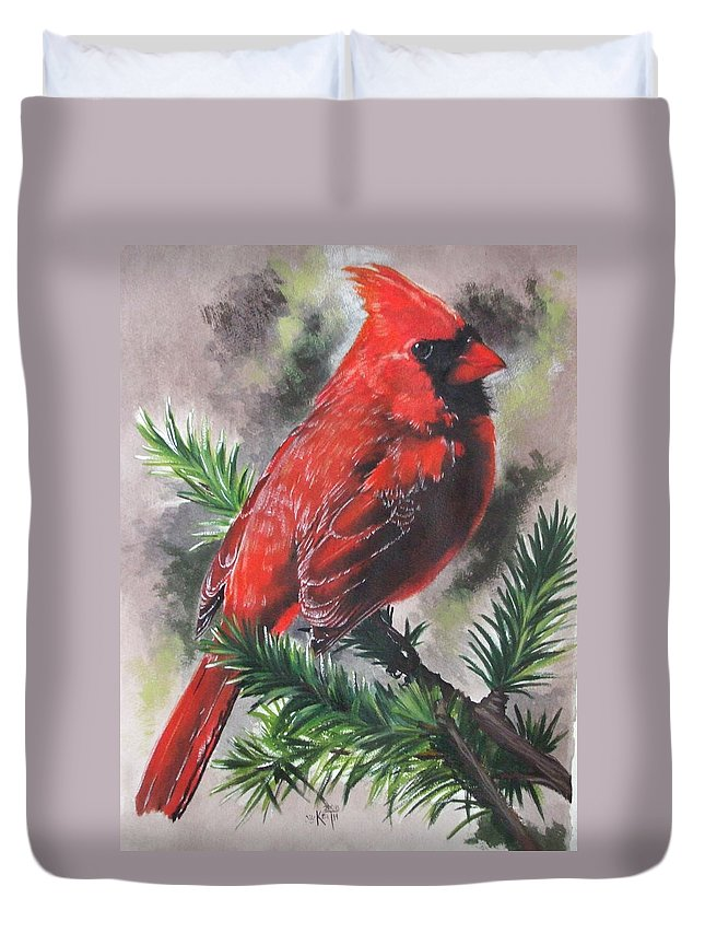 Cardinal Duvet Cover featuring the painting Show-off by Barbara Keith