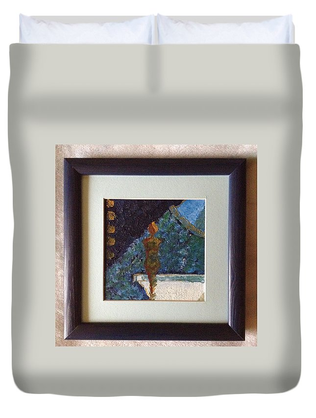 Shower Water Texture Figure Silhouette Duvet Cover featuring the painting Shower by Costin Tudor