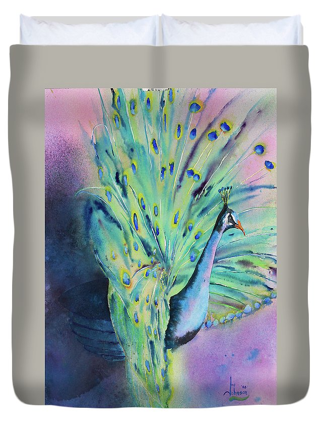 Exotic Birds Duvet Cover featuring the painting Showing Off by Larry Johnson