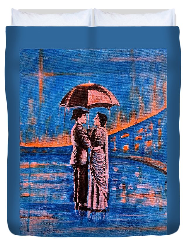 Shree Duvet Cover featuring the painting Shree 420 by Usha Shantharam