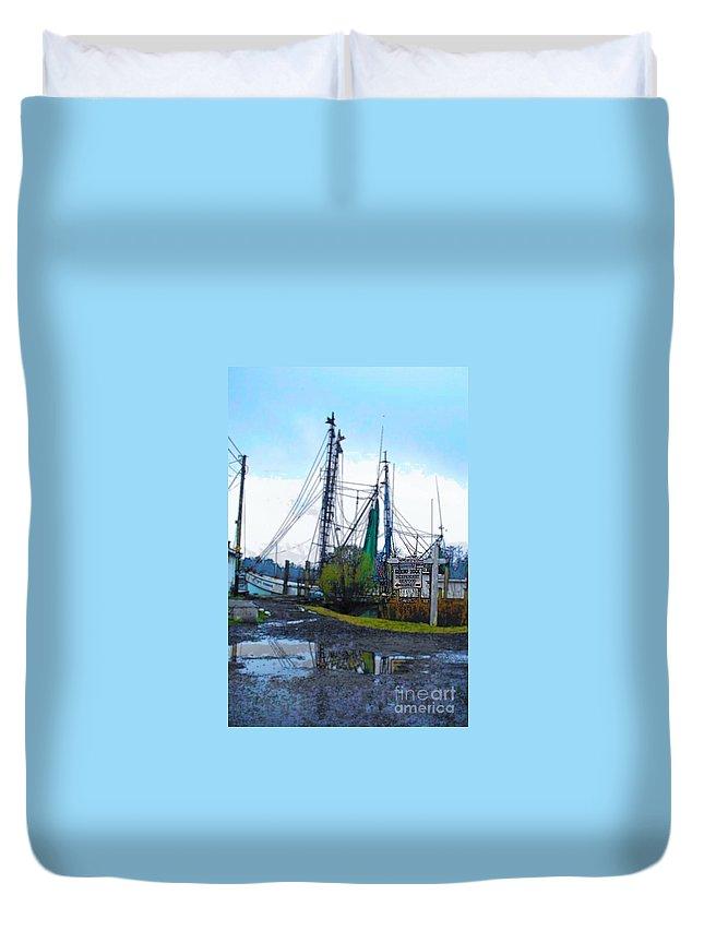 Shrimp Boat Duvet Cover featuring the digital art Shrimp Boat by Carliss Prosser
