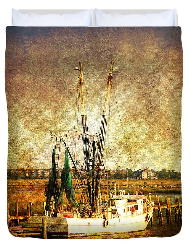 Shrimp Boat Duvet Cover featuring the photograph Shrimp Boat In Charleston by Susanne Van Hulst