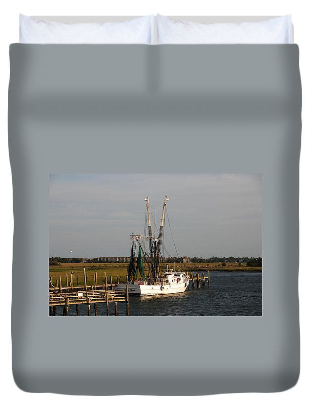 Photography Duvet Cover featuring the photograph Shrimp Boat by Susanne Van Hulst