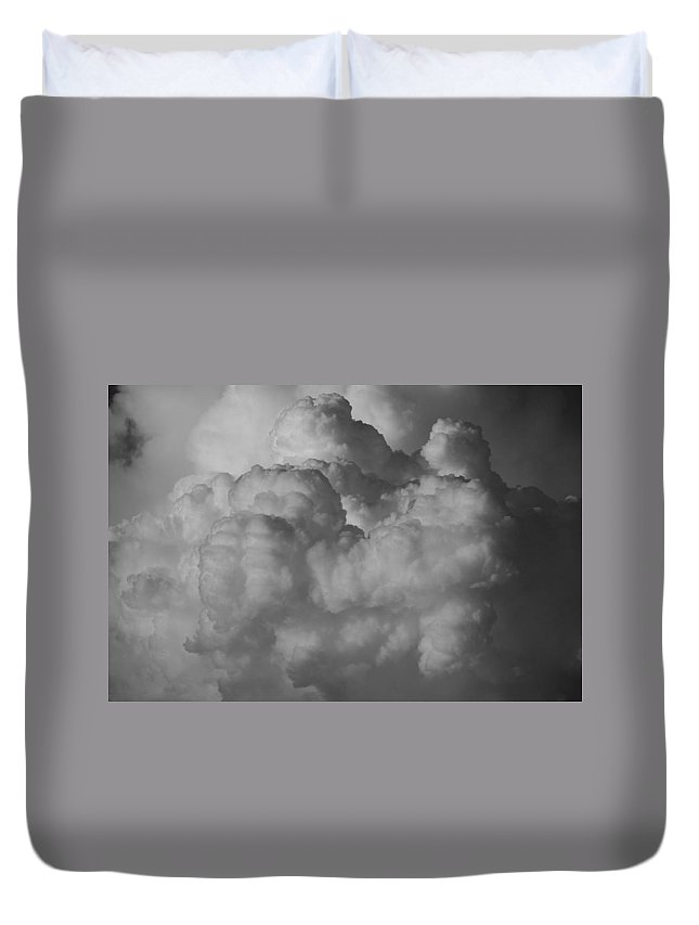 Black And White Duvet Cover featuring the photograph Shrimp Clouds by Rob Hans