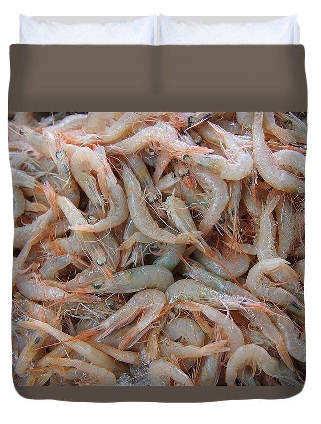 Shrimp Duvet Cover featuring the photograph Shrimp Mess by Ron Koivisto