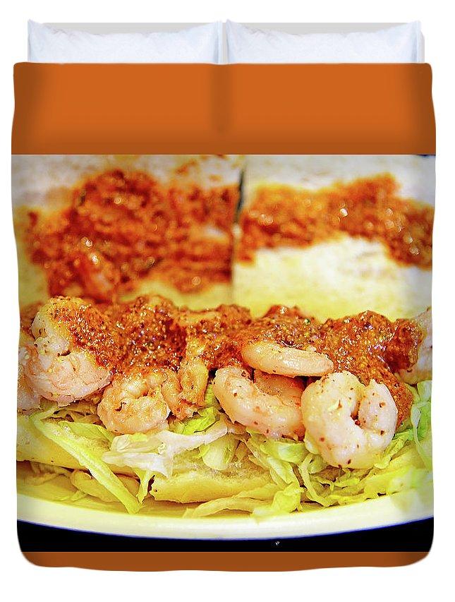 Shrimp Duvet Cover featuring the photograph Shrimp Po-boy by Evan Peller