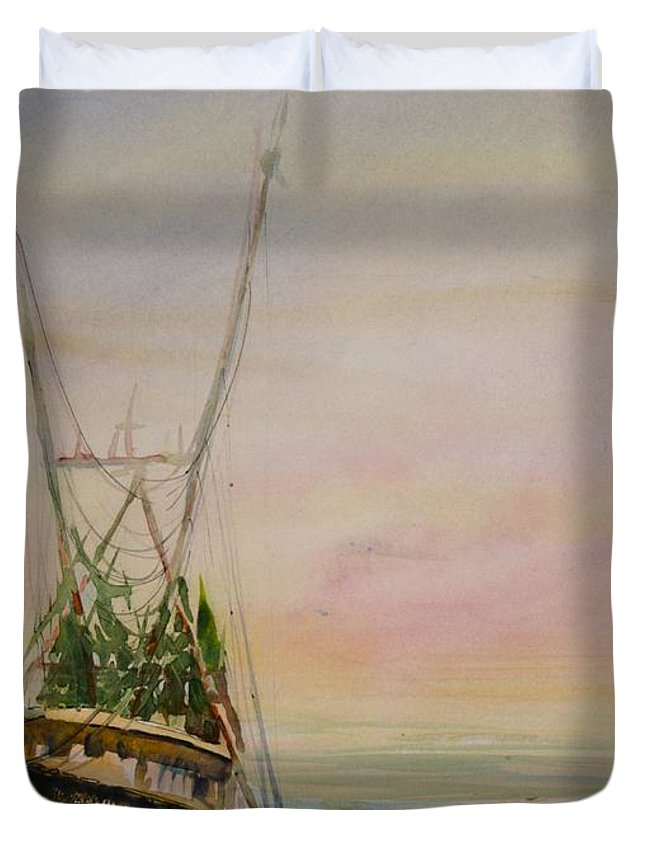 Ocean Duvet Cover featuring the painting Shrimping by Shirley Sykes Bracken