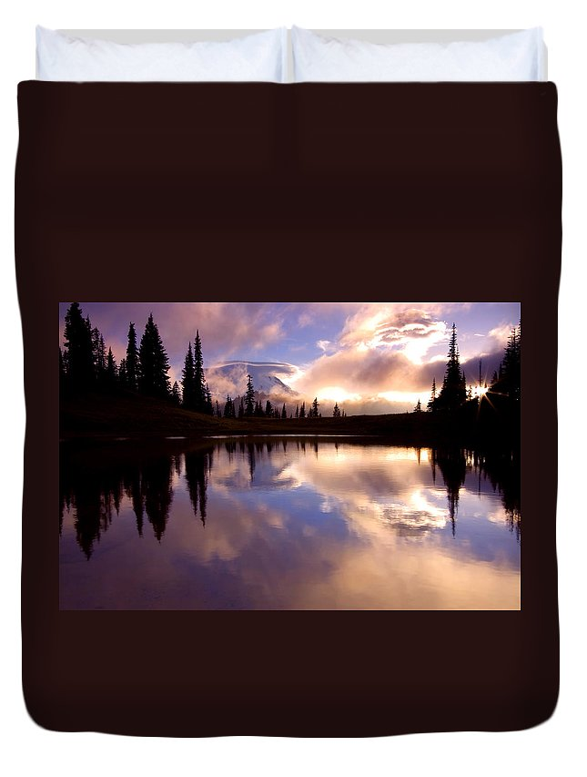 Rainier Duvet Cover featuring the photograph Shrouded In Clouds by Mike Dawson