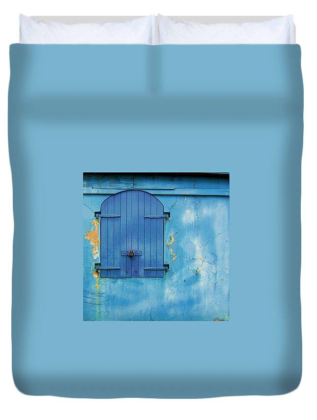 Shutter Duvet Cover featuring the photograph Shuttered Blue by Debbi Granruth