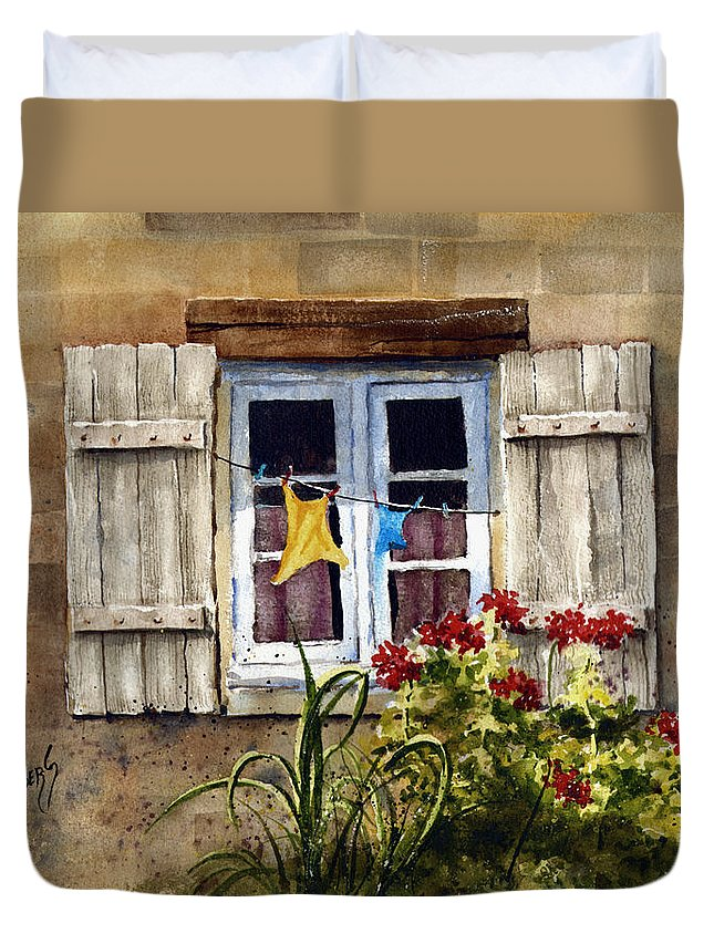 Window Duvet Cover featuring the painting Shutters by Sam Sidders