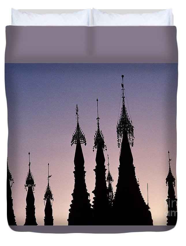Ancient Duvet Cover featuring the photograph Shwedagon Pagodas by William Waterfall - Printscapes