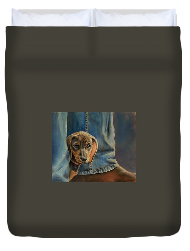Animal Duvet Cover featuring the painting Shy Boy by Ceci Watson
