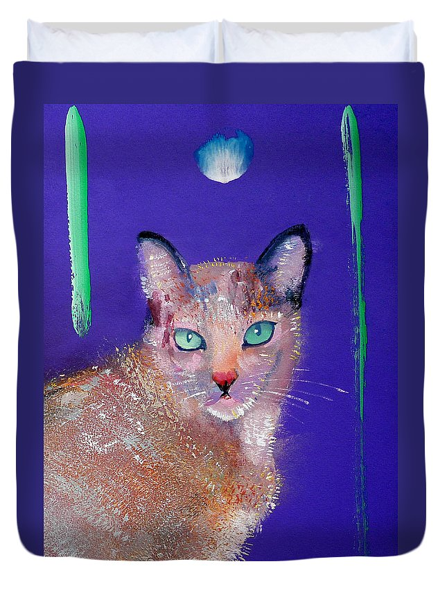 Cat Duvet Cover featuring the painting Siamese Cat by Charles Stuart