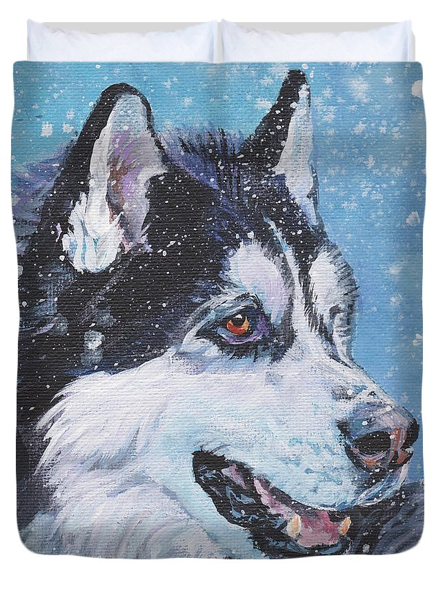 Siberian Husky Duvet Cover featuring the painting Siberian Husky by Lee Ann Shepard
