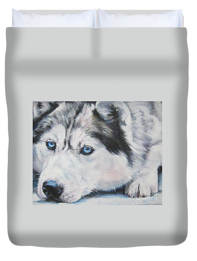 Dog Duvet Cover featuring the painting Siberian Husky Up Close by Lee Ann Shepard