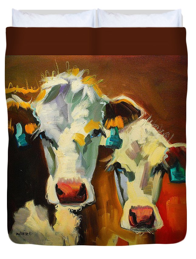 Cow Duvet Cover featuring the painting Sibling Cows by Diane Whitehead