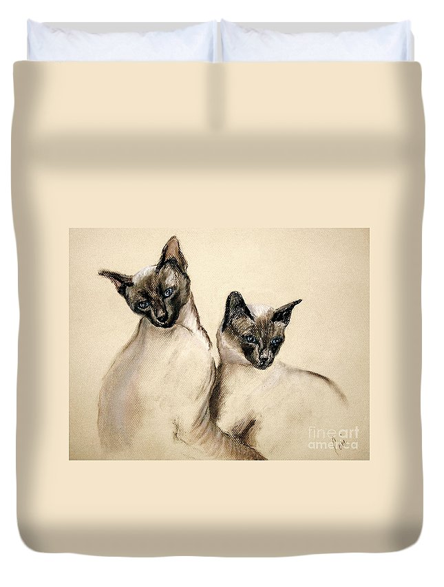 Cat Duvet Cover featuring the drawing Sibling Love by Cori Solomon