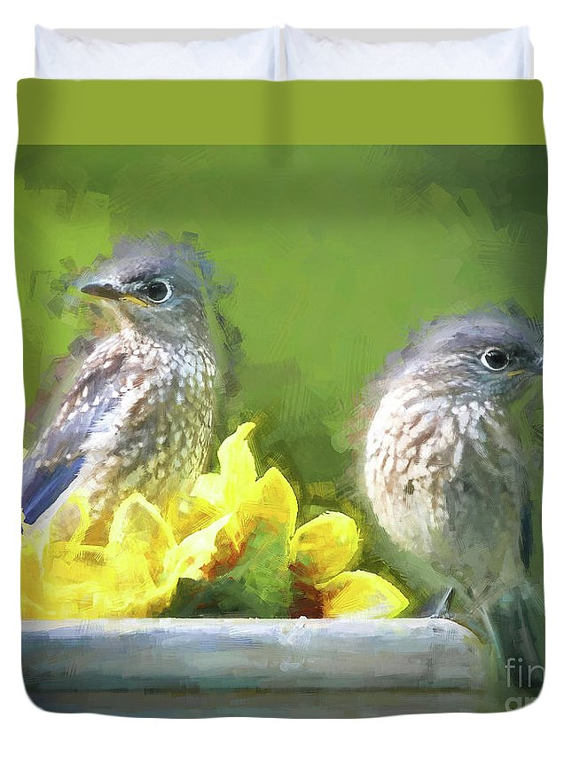 Bluebird Duvet Cover featuring the photograph Siblings by Tina LeCour