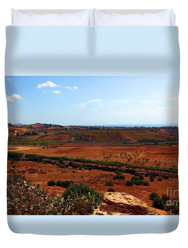 Landscape Duvet Cover featuring the photograph Sicily Landscape by Madeline Ellis