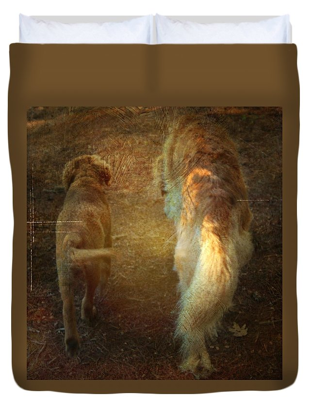 Dog Duvet Cover featuring the photograph Side By Side by Modern Art
