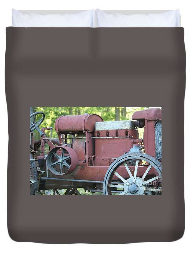 Mccormic Duvet Cover featuring the photograph Side Of Mccormic Deering Tractor  # by Rob Luzier
