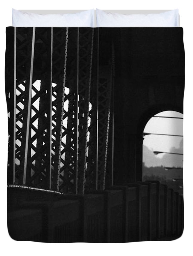 Black And White Duvet Cover featuring the photograph Side Of The Bridge by Lyle Crump