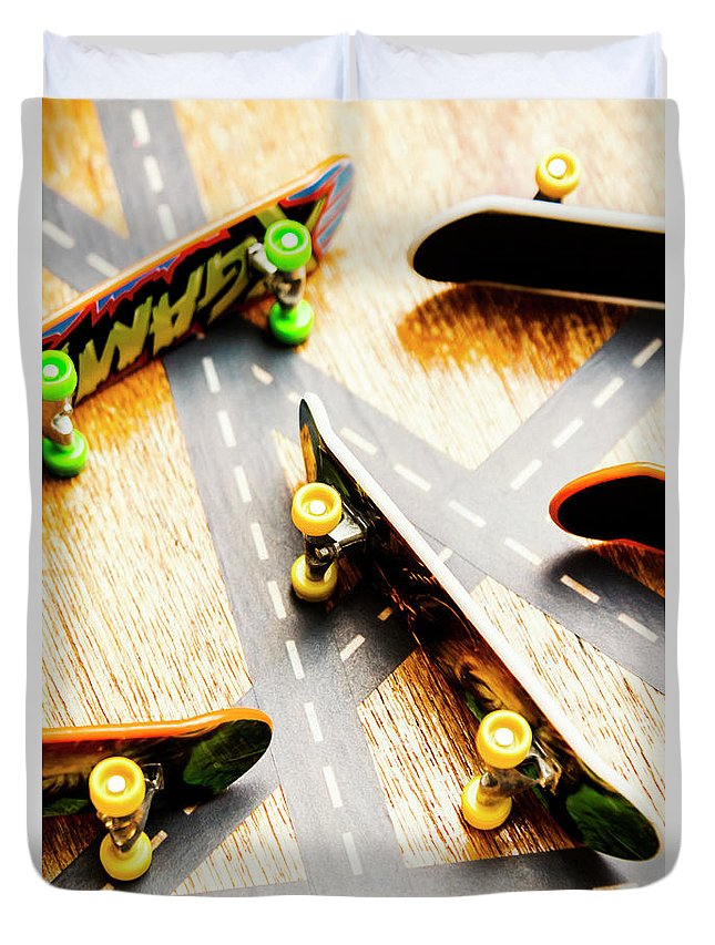 Skateboard Duvet Cover featuring the photograph Side Streets Of Skate by Jorgo Photography - Wall Art Gallery