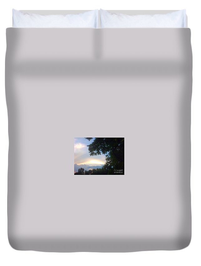 Sunset Duvet Cover featuring the photograph Side Ways Glance Of Nature by Debra Lynch