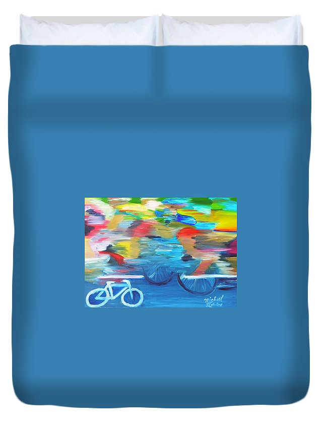 Cycling Duvet Cover featuring the painting Sideline View by Michael Lee