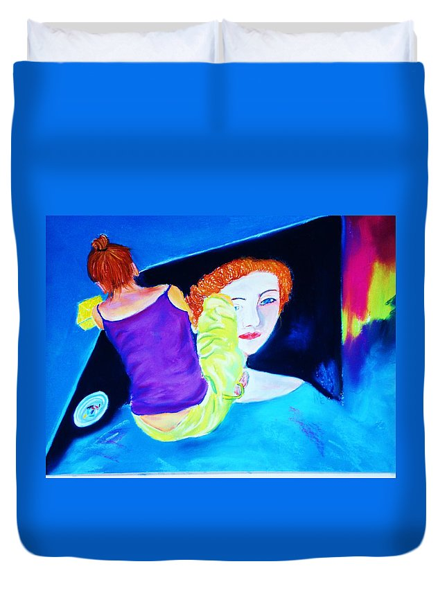 Painting Within A Painting Duvet Cover featuring the print Sidewalk Artist II by Melinda Etzold