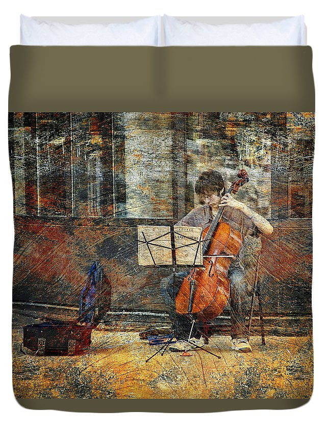 Art Duvet Cover featuring the photograph Sidewalk Cellist by Randall Nyhof