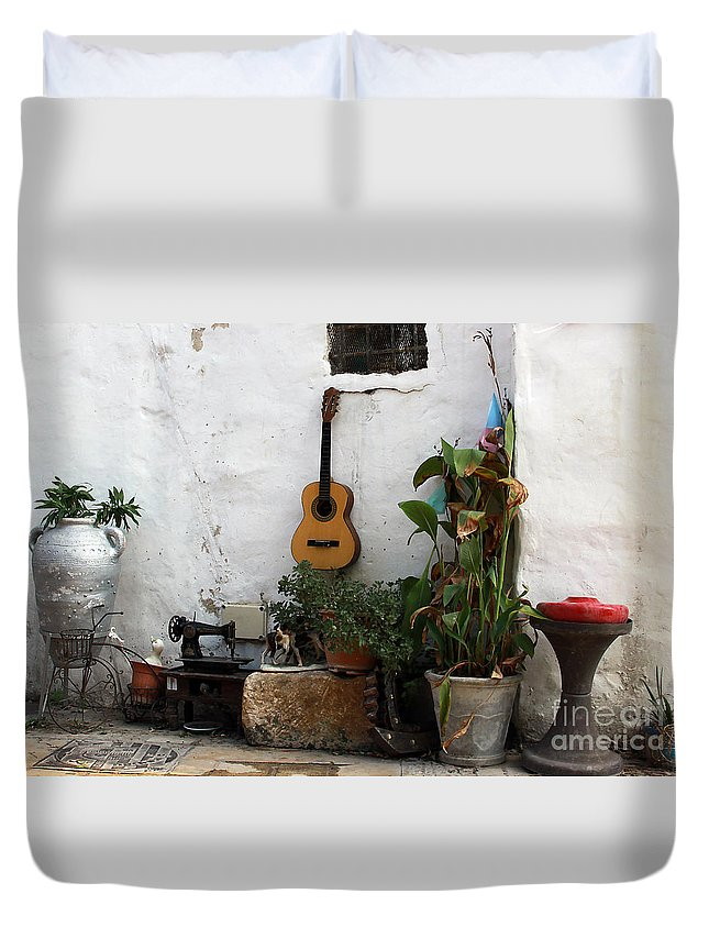 Akko; Acre; Israel; Old Town; Mixed Media; Guitar; Hodge Podge; Miscellania; Potted Plants; Urban Art; Collage; Street Art; Streetscape; Planters Duvet Cover featuring the photograph Sidewalk Collage #2 by PJ Boylan
