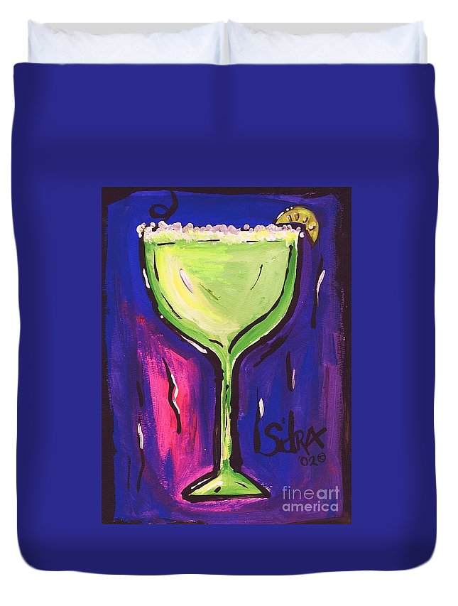 Margarita Duvet Cover featuring the painting Sidzart Pop Art Series 2002 Margarita Baby by Sidra Myers