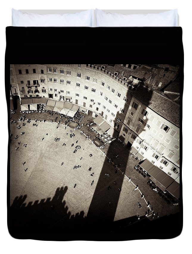 Siena Duvet Cover featuring the photograph Siena From Above by Dave Bowman