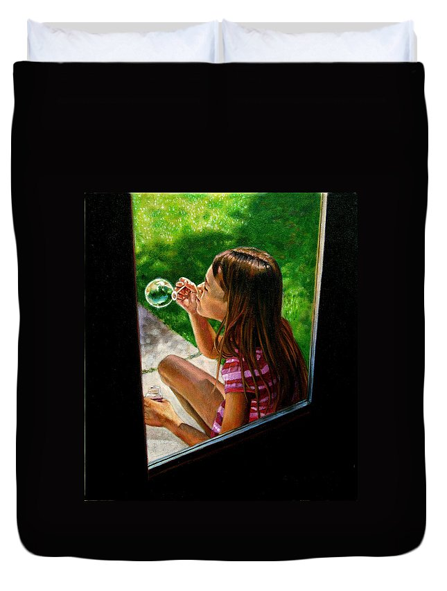 Girl Duvet Cover featuring the painting Sierra Blowing Bubbles by John Lautermilch