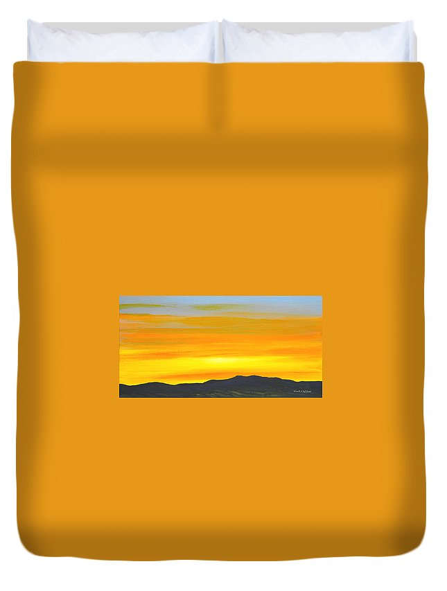 Sunrise Duvet Cover featuring the painting Sierra Foothills Sunrise by Frank Wilson