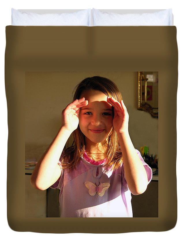 Young Girl In Sunlight Duvet Cover featuring the photograph Sierra in Sunlight by John Lautermilch