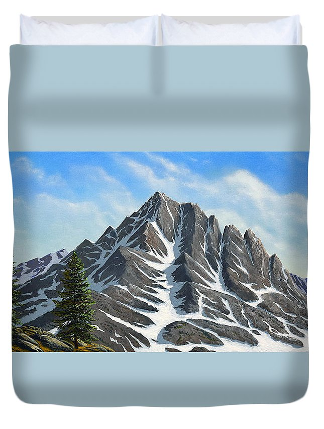 Mountains Duvet Cover featuring the painting Sierra Peaks by Frank Wilson