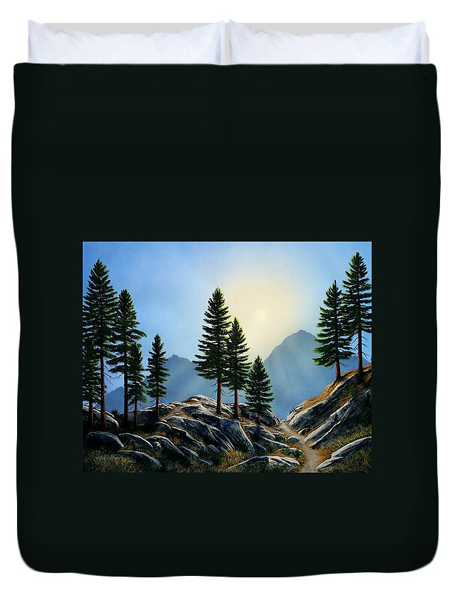 Landscape Duvet Cover featuring the painting Sierra Sentinals by Frank Wilson